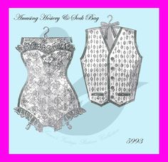 Reproduction Amusing Corset & Vest Hosiery Bag Sewing Pattern 5993    Great craft ideas for Wedding or Christmas presents  You will receive