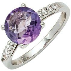 Damen-Ring 1 Amethyst 14 Karat (585) Weißgold 8 Diamant 0.12 ct. 56 (17.8) Dreambase, http://www.amazon.de/dp/B00EYH7JUY/ref=cm_sw_r_pi_dp_lX.jtb0QS7QZZ