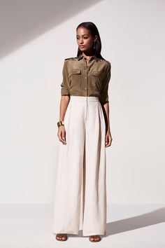 SHOP: Ann Taylor Spring 2016 wide leg pant + utility blouse—the perfect work outfit!