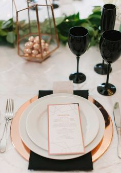 Copper, White, and Black Tablescape    Photography: Blue Rose Photography   Read More:  http://www.insideweddings.com/weddings/urban-chic-styled-wedding-shoot-with-unique-copper-accents/785/