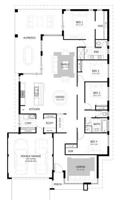 4 Bedroom House Plans Home Designs Celebration Homes regarding sizing 1200 X 2000 4 Bedroom House Design - This may be the second and concluding the main compilation of articles […] Home Layout Design, Home Design Plans, Plan Design, 4 Bedroom House Designs, 4 Bedroom House Plans, Bedroom Ideas, Villa Plan, Porch House Plans, Cottage House Plans