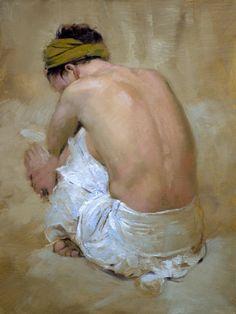 white skirt i - oil on linen (61 x 47cm) by Andrew Sinclair