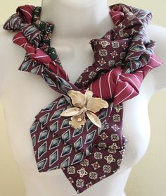 Eco-Chic Repurposed Necktie Collar Statement Necklace with Vintage Flower Pin Accent on SALE!