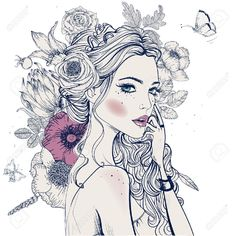 Illustration Papillon, Illustration Blume, Butterfly Illustration, Photography Illustration, Woman Illustration, Clipart, Young And Beautiful, Beautiful Women, Coloring Books