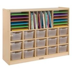 Birch Multi-Section Storage Cabinet with 15 Scoop Front Bins Rolling Casters, Multipurpose Classroom Furniture, Hardwood Mobile Storage for Homeschool Supplies and Toy Storage, Assorted Classroom Furniture, Classroom Decor, Classroom Seats, Future Classroom, Classroom Supplies, Craft Room Storage, Toy Storage, Vehicle Storage, Craft Storage Cabinets