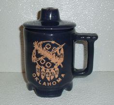 "www.jaedasplaythings.com Frankoma Pottery Mug Cup C1 Oklahoma Dream Catcher Blue With Lid 5.25"" #Frankoma"