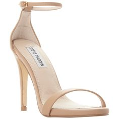 Steve Madden Stecy Stiletto Sandals , Natural (€89) ❤ liked on Polyvore featuring shoes, sandals, natural, ankle strap high heel sandals, stiletto sandals, high heels stilettos, ankle tie flat sandals ve high heel sandals