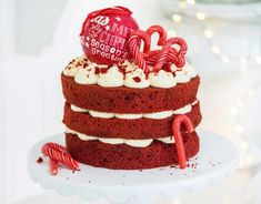 Red Velvet Candy Cane Christmas Cake