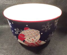 Debbie Mumm SNOWMAN PORTRAITS by Zak Designs Round Salad Serving Bowl Snowmen on exterior white interior red trim near MINT Condition by libertyhallgirl on Etsy $24.99 SOLD