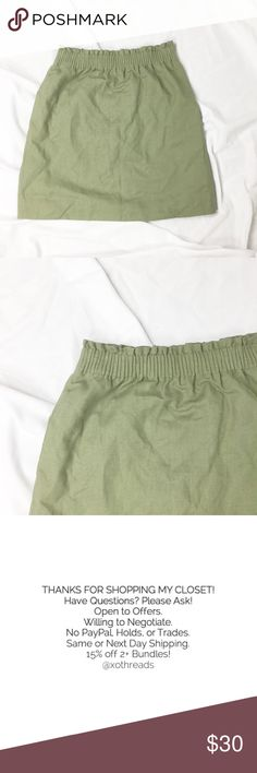 "J. CREW LINEN COTTON SIDEWALK MINI SKIRT J. Crew green Linen cotton sidewalk mini skirt. Sold at Nordstrom. Sits above waist. Lined. Machine wash. Elasticized gathered waist with ruffle top. Allover linen blend construction. 55% Linen, 45% cotton. Cotton lining.   Waist: 12.5-18""  Length: 18"" *All measurements approximate hand measurements taken laid flat, double where necessary. J. Crew Skirts"