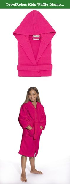 692b541af0 TowelRobes Kids Waffle Diamond Weave Hooded Bathrobe. Our Kid s Waffle  Hooded Bathrobes are woven using