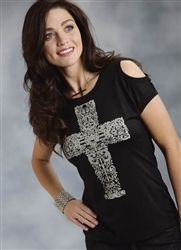 oper Womens Black Cold Shoulder Tee  Throw back your hair and give 'em the cold shoulder- your shoulder! Show it off, girl, with this pretty cross print shirt with an edge. Only $29.95! #OutbackWesternWear