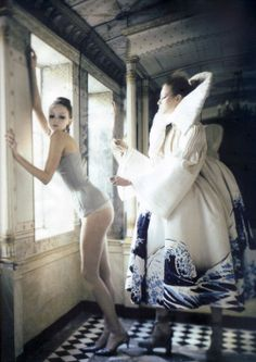 'Atelier Couture', Lily Cole & Irina Lazareanu by Paolo Roversi, Vogue Italia March 2007.  Christian Dior Spring Summer 2007 Haute Couture