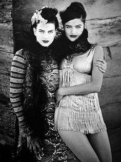 Kristen McMenamy & Helena Christensen by Peter Lindbergh