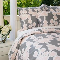 Bedroom inspiration and bedding decor | The Ashbury Pink and Grey Bedding Duvet Cover | Crane and Canopy