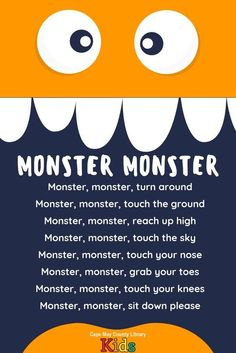 of our favorite storytime rhymes! Perfect for the Halloween season! Kindergarten Songs, Preschool Songs, Preschool Classroom, Preschool Learning, Preschool Transitions, Transition Songs For Preschool, Monster Theme Classroom, Classroom Rewards, Toddler Learning