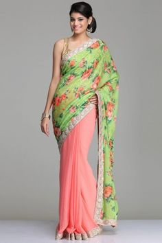 Coral Pink Georgette Saree With A Floral Print Lime Green Chiffon Pallu And Dull Gold Sequenced And Pearl Border With A Contrast Antique Gold Soft Brocade Blouse Piece