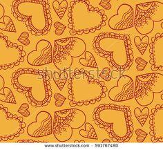 Cute seamless pattern. A heart. Hand drawing. Contour drawing. Doodle design, design. Love. Sketch. Orange background  #bubushonok #art #bubushonokart #design #vector #shutterstock  #pattern #fabric #seamless #doodle #ornament    #love #valentines #day #hearts #heart