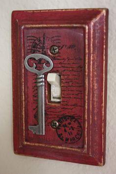 Paris Themed Antique Red Single Switch Plate Cover With Hand Stamped French Script  Silver Key