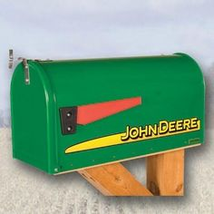 John Deere Modern Rural Style Mailbox Green by John Deere. $89.99. Modern John Deere Mailbox  John Deere Modern Striped Mailbox is a neat and unmistakable modern John Deere Stripe Mailbox. This traditional rural style mailbox shape features sturdy steel construction with an attractive, durable powder-coat finish.   Easily installed on most types of mailbox posts this 21 lbs. of 16 ga. welded steel construction has reinforced opening with magnetic latch. Mailbox measures ...