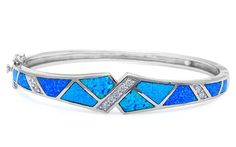 Lab Created Blue Opal and Cubic Zirconia .925 Sterling Silver Bangle Bracelet ** Click image to review more details.-It is an affiliate link to Amazon. #Bracelet
