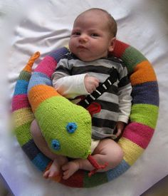 Toy Cotton Snake for Babies, Children, Teens, Adults in Colors of the Rainbow. $55.00, via Etsy.