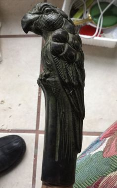 Antique Irish Blackthorn Shillelagh Walking Stick Cane Brass Parrot Top BrassTip