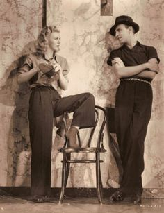 Ginger Rogers and choreographer Hermes Pan on the lot of RKO in 1936.