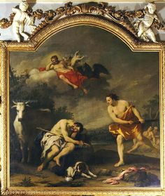 Amiconi Or Amigoni, Jacopo (1682-1752)  The God Mercury kills Argus while sleeps and goddess Io as cow in background (Jupiter in sky), 1730-2