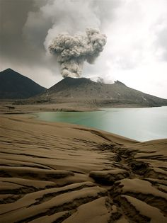 Tavurvur, an active volcano that lies near Rabaul in Papua New Guinea