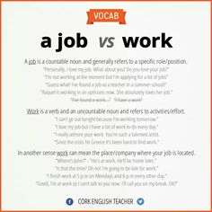 """Understanding and explaining the subtle and grammatical differences between """"job"""" and """"work"""" in American English"""