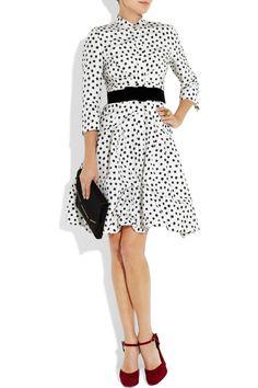 OSCAR DE LA RENTA  Printed silk-faille dress, Oscar de la Renta ring, Lanvin belt and clutch, Dolce & Gabbana shoes.