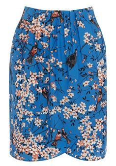 Multicolor Floral Above Knee Wrap Cotton Blend Skirt