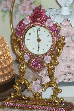 A Beautiful Pink Vintage Jeweled Matson Mantle Clock By Debbie-Weiss! Antique Pendulum Wall Clock, Antique Wall Clocks, Old Clocks, Vintage Clocks, Mantle Clock, Clock Decor, Shabby Vintage, Vintage Pink, Jewelry Frames
