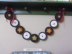 Handmade Penny Rug Garland Christmas Snowmen With Stars On Red And Green