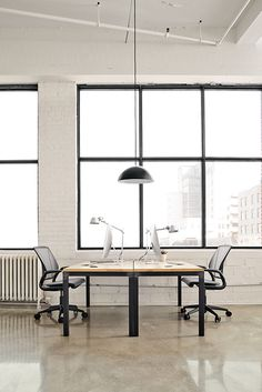 Classic Room & Board modern furniture, Parsons desk is versatile modern office furniture with an option for hidden power outlets and USB ports. Office Furniture, Office Decor, Parsons Desk, White Laminate, Open Office, Transitional House, Modern Spaces, Commercial Interiors, Chair And Ottoman