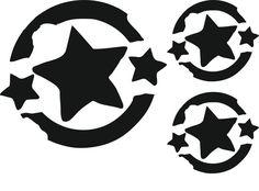 """Flockmotiv / Velourmotiv / Bügelbild """"Grunge Star"""" 3er Set 1x 7x7cm 2x 4x4 Farben zur Wahl: schwarz, rot, weiß Die gewünschte Farbe bitte nach dem Kauf einfach kurz..."""