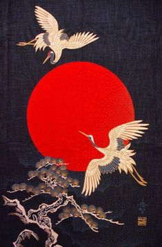 Red is a powerful color in traditional Japanese society, representing strong emo. - Red is a powerful color in traditional Japanese society, representing strong emotions rather than i - Japanese Drawings, Japanese Artwork, Japanese Tattoo Art, Japanese Painting, Japanese Prints, Japanese Colors, Japanese Crane, Japanese Fabric, Japanese Geisha