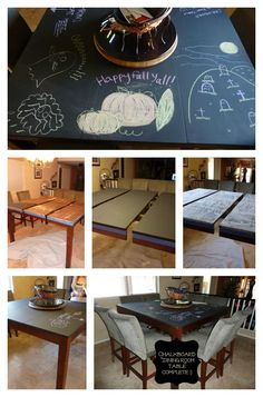 Chalkboard Dining Room Table COMPLETE!!  a BIG thank you to Paisley Passions for the inspiration and the How-To. I love our newly up-cycled dining room table!!