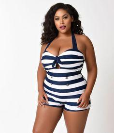 fa0eb3b8994 Unique Vintage Plus Size Navy   White Stripe Nautical Garbo Swimsuit