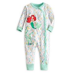 Disney Ariel Footless Stretchie Sleeper for Baby | Disney StoreAriel Footless Stretchie Sleeper for Baby - Wearing our cozy organic cotton Ariel Footless Stretchie Sleeper, she'll sink into a comfy sleep and sail on an ocean of dreams. The neck to ankle snaps make on-and-off a sea breeze.