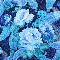 marine blauer Blumen und Paisley Stoff Timeless Treasures