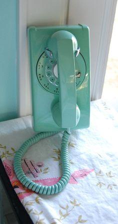 Aqua Rotary Mid Century Wall Phone