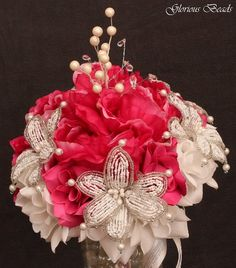 Fuchsia Beaded Lily Wedding BRIDAL Bouquet ~ Hot Pink and White with Peonies and Roses. Unique French beaded flowers and beaded sprays ~ Can also be used for centerpiece or ceremony flowers!