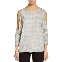 Bailey 44 Olympus Cold Shoulder Sweater (295 CAD) ❤ liked on Polyvore featuring tops, sweaters, grey, cutout shoulder sweater, gray top, cut shoulder top, bailey 44 and open shoulder top
