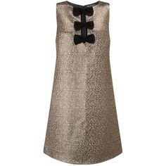 Miss Selfridge Velvet Bow Gold Shift Dress (125 BRL) ❤ liked on Polyvore featuring dresses, gold color, pattern dress, velvet shift dress, sleeveless cocktail dress, gold cocktail dress and bow dress