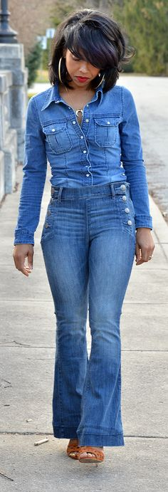 Denim X Denim, Flare Leg Jeans,  Fall Outfit Idea, Winter Outfit Idea