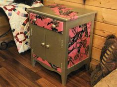 Fun Pink Camo Night Table. I actually put the pink camo on the entire top later but forgot to take a pic.