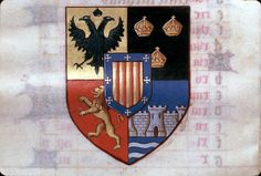 Heraldic detail from a 15th century Latin manuscript in Clermont-Ferrand Library