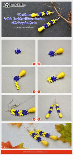 How to Make 2-Hole Seed Bead Flower Earrings with Turquoise Beads The earrings are made of mixed color 2-hole seed beads and drop turquoise beads. The making way is to thread 2-hole seed beads into 6-petal flowers and add a yellow turquoise bead at the end.